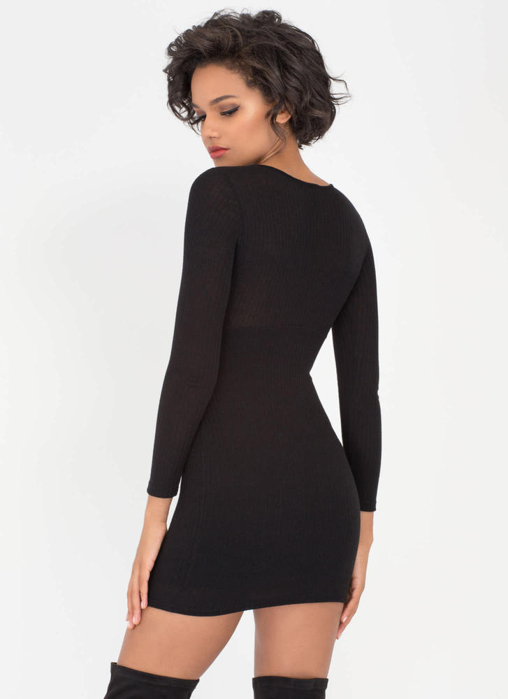 String You Along Tied Rib Knit Dress BLACK