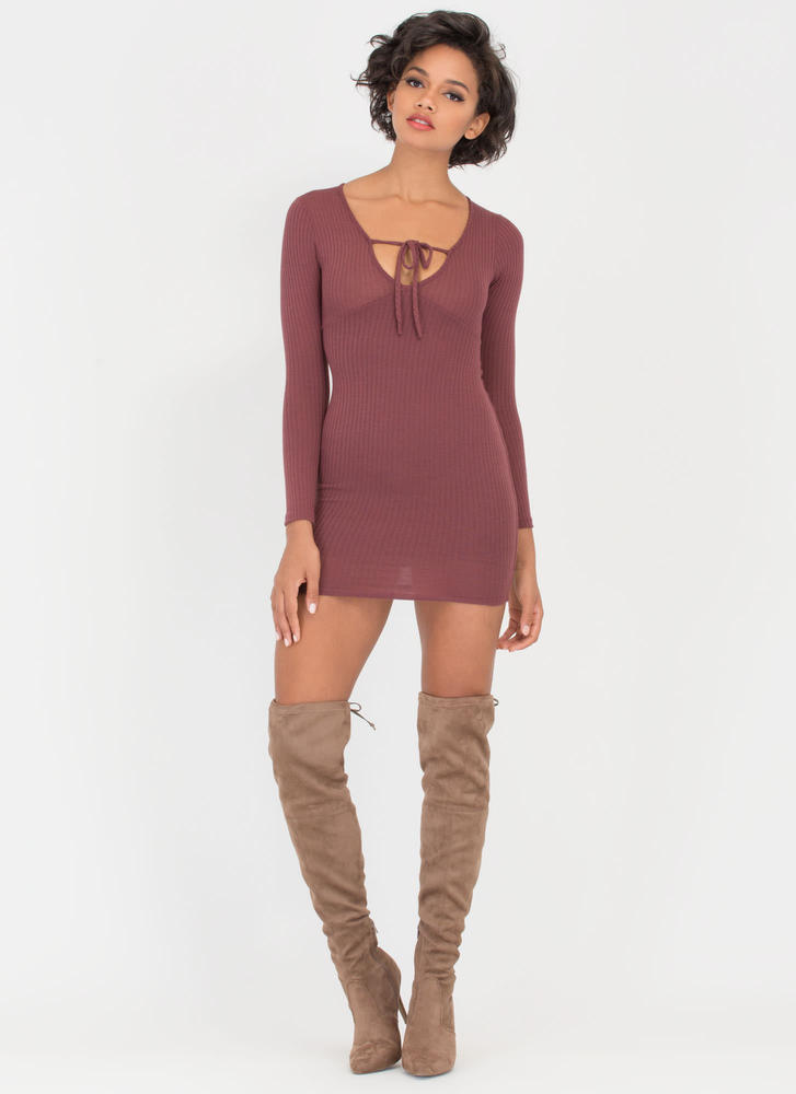 String You Along Tied Rib Knit Dress REDBROWN