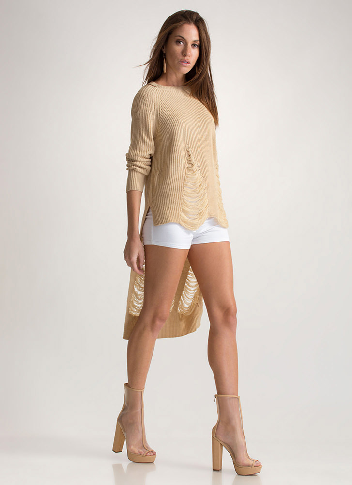 Pull Some Strings High-Low Sweater BEIGE