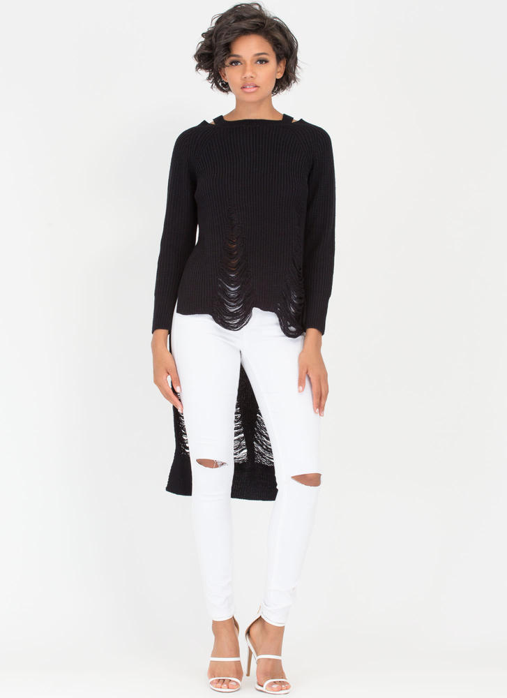 Pull Some Strings High-Low Sweater BLACK