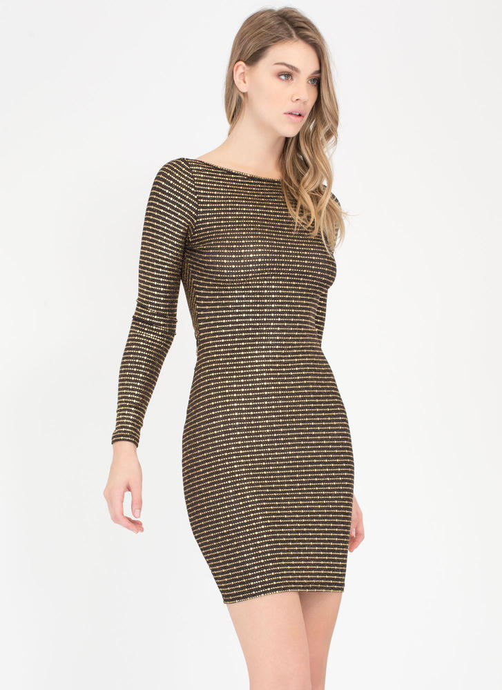 On The Dot Metallic Open Back Dress GOLD