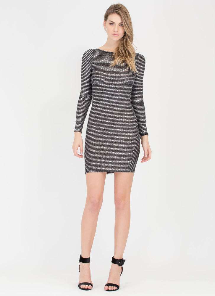 On The Dot Metallic Open Back Dress SILVER