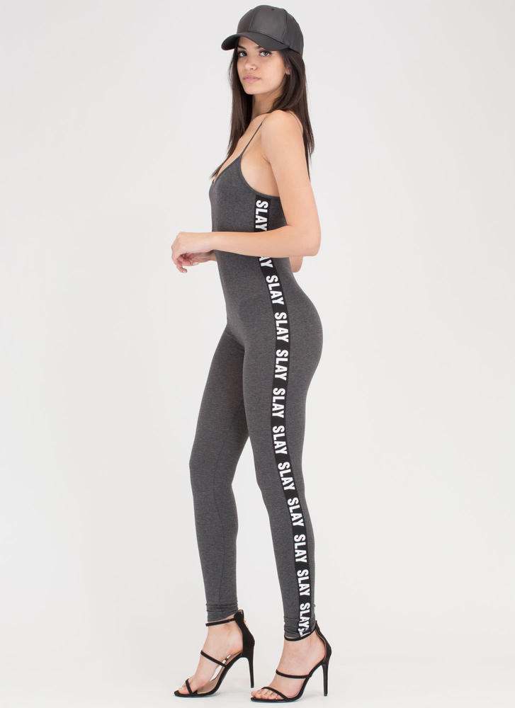 Slay It Again Graphic Full Bodysuit CHARCOAL