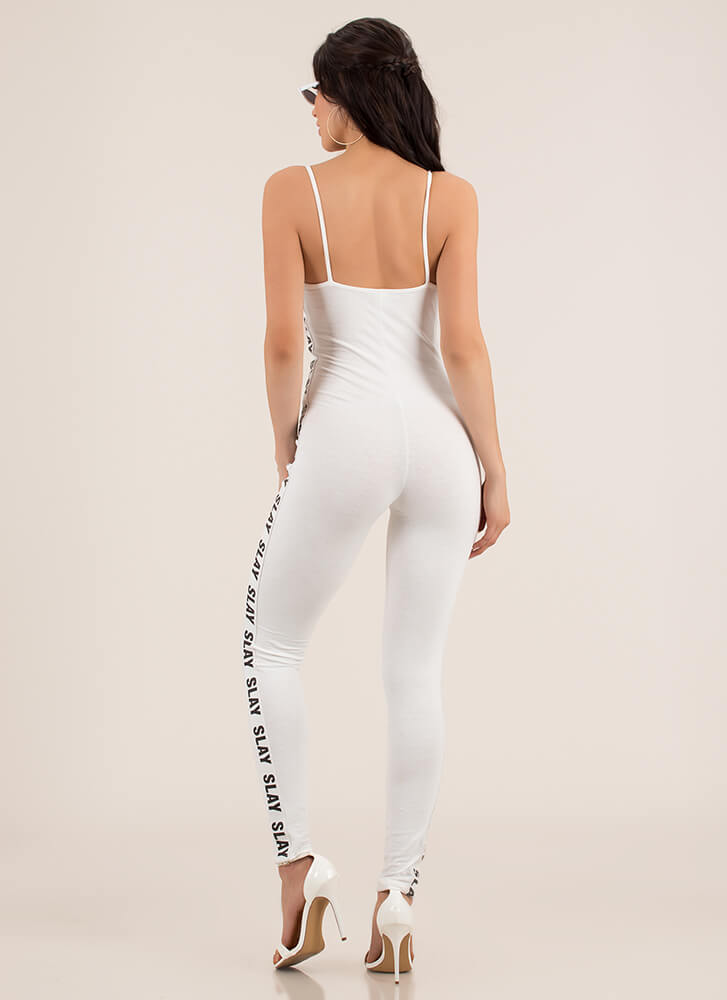 Slay It Again Graphic Full Bodysuit WHITE