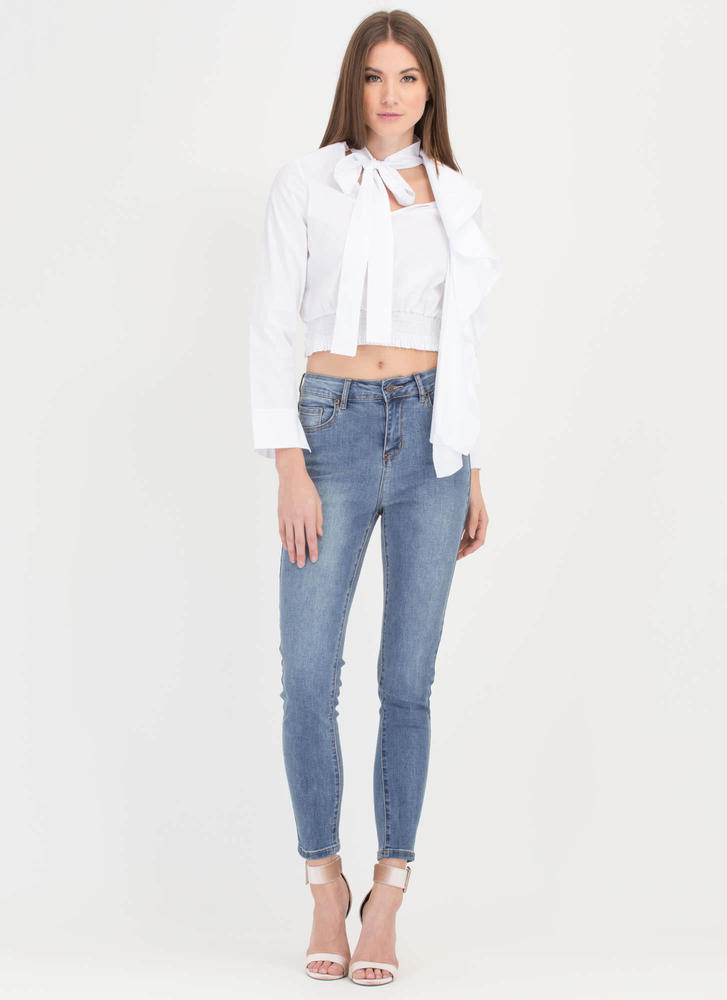 Cascade Ruffle Pussy Bow Blouse WHITE