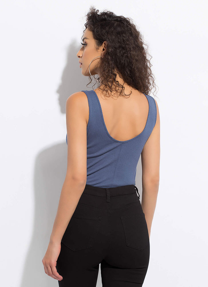 Walking Side To Side Lace-Up Bodysuit BLUE