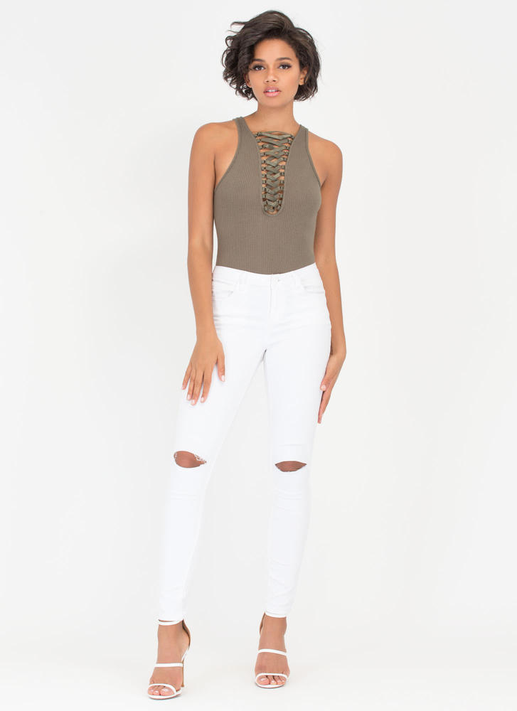 Tied With Ribbon Rib Knit Bodysuit OLIVE