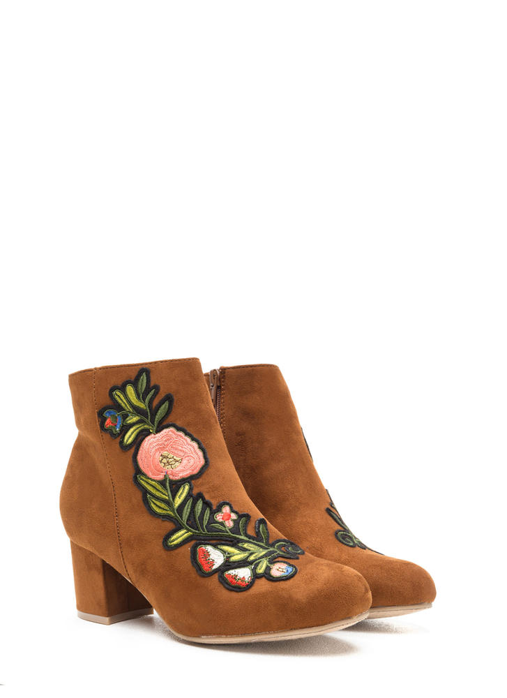 Autumn Stroll Embroidered Floral Booties CHESTNUT