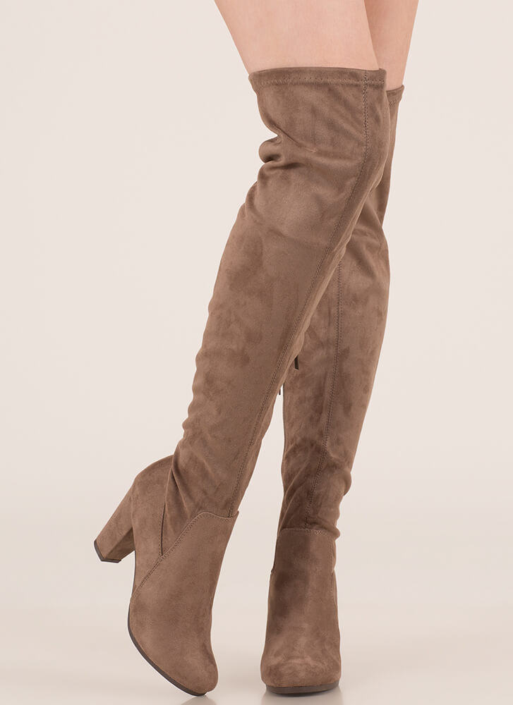 Thigh's The Limit Over-The-Knee Boots TAUPE
