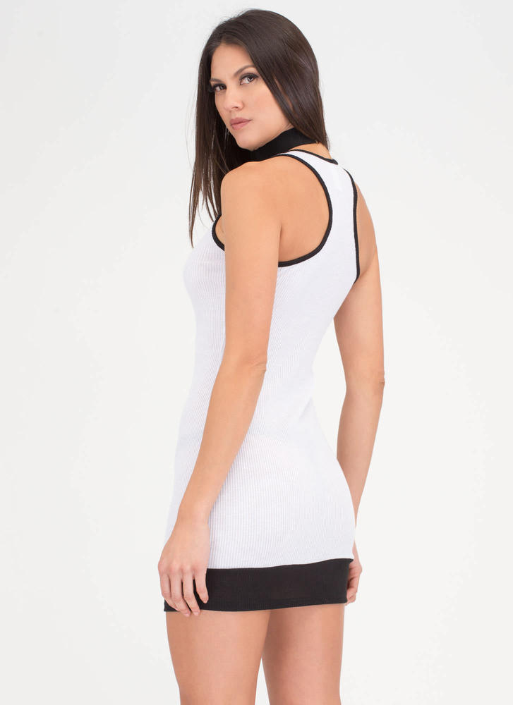 Hi Contrast Lace-Up Grommet Dress WHITE (You Saved $14)