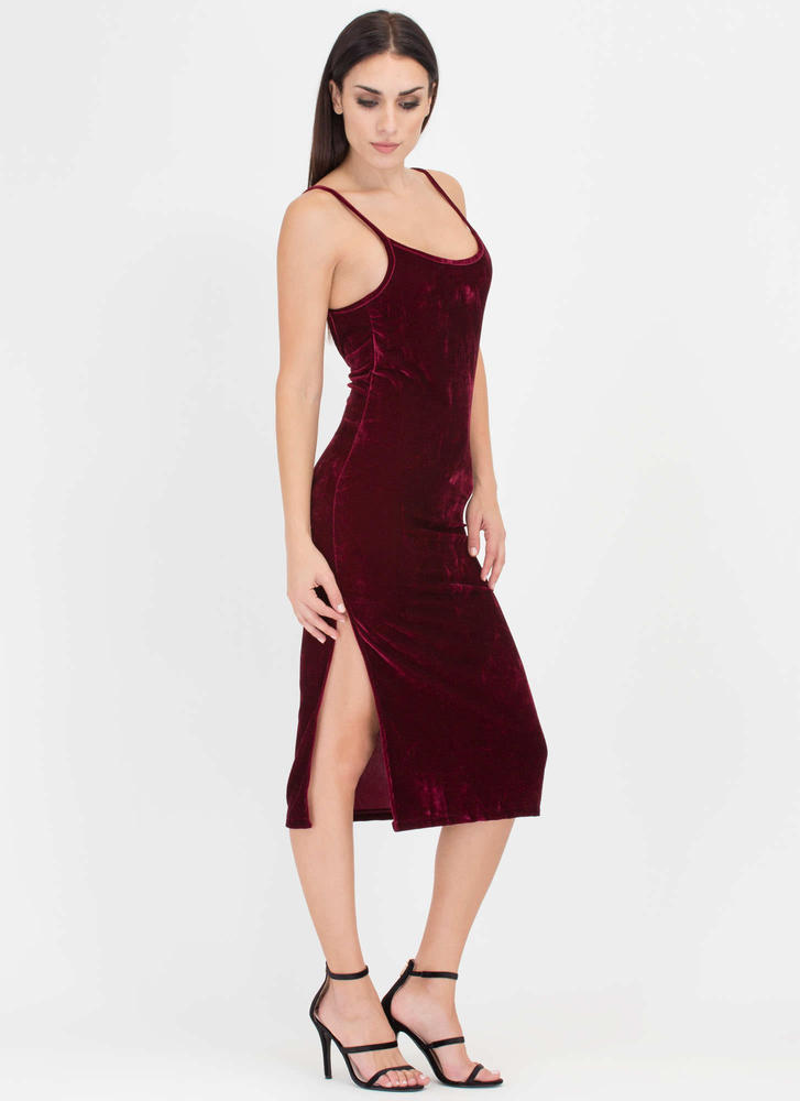 Vote Velvet Open Back Slip Dress BURGUNDY
