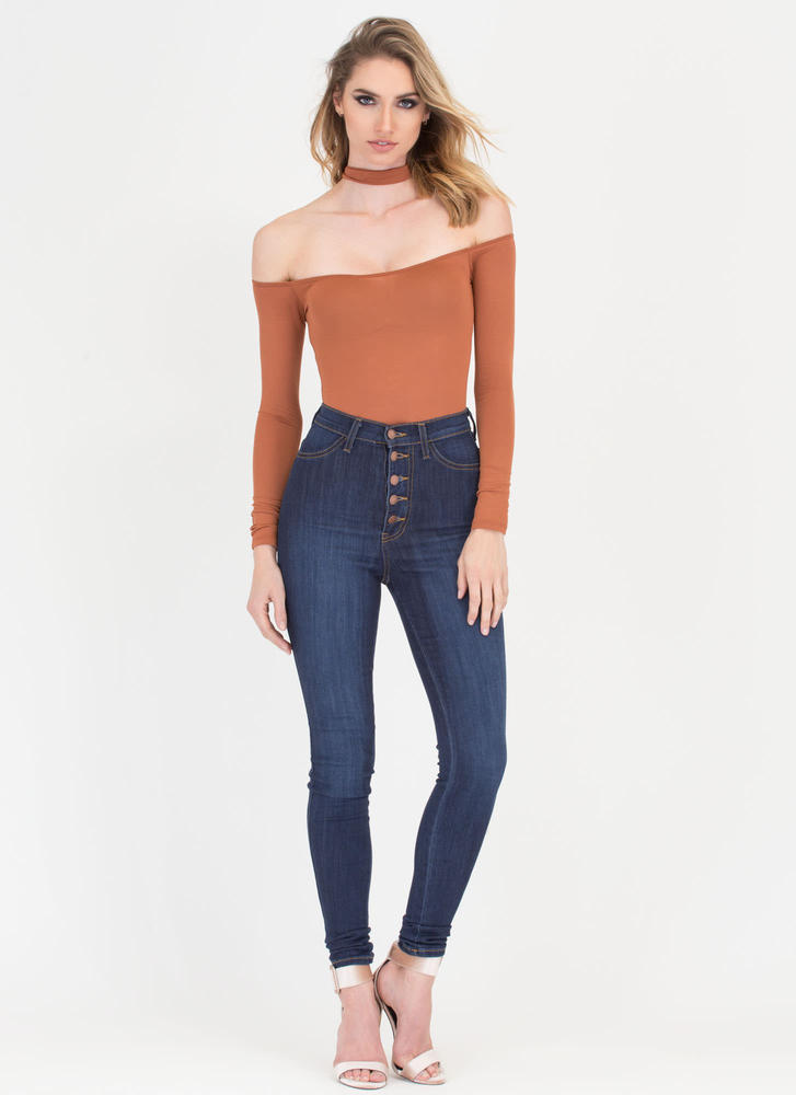 Connected Off-Shoulder Choker Bodysuit AUTUMN