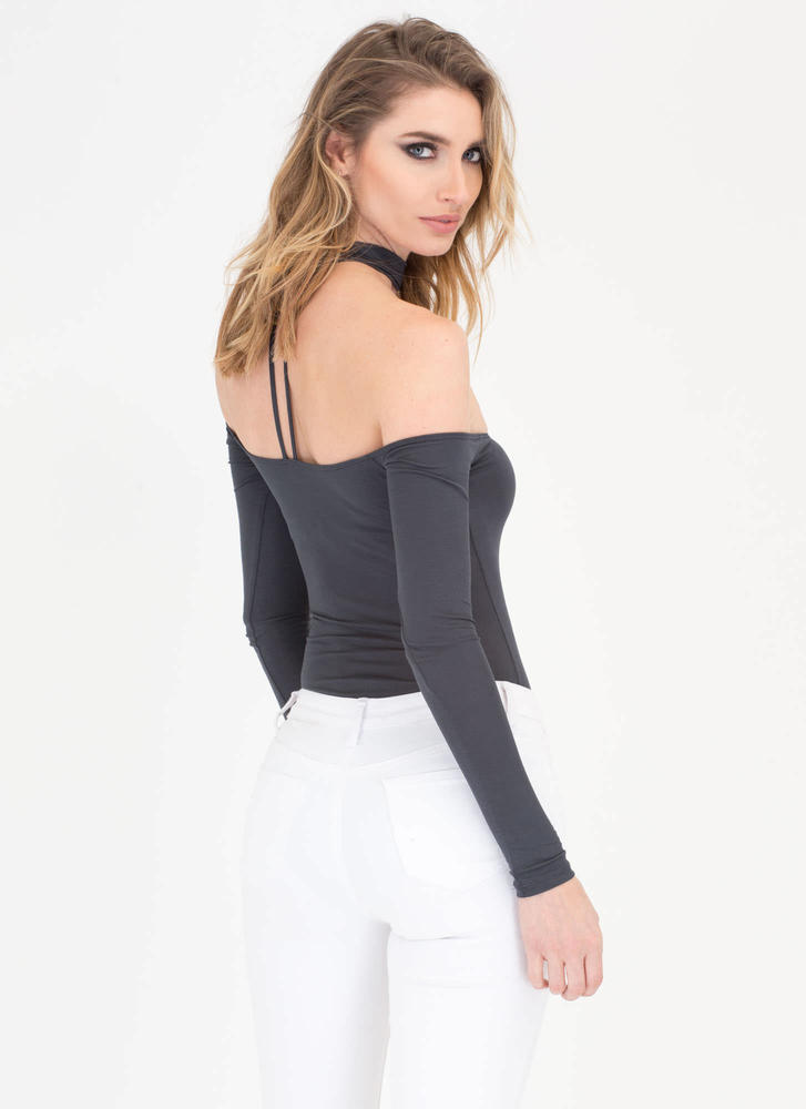Connected Off-Shoulder Choker Bodysuit BLACK