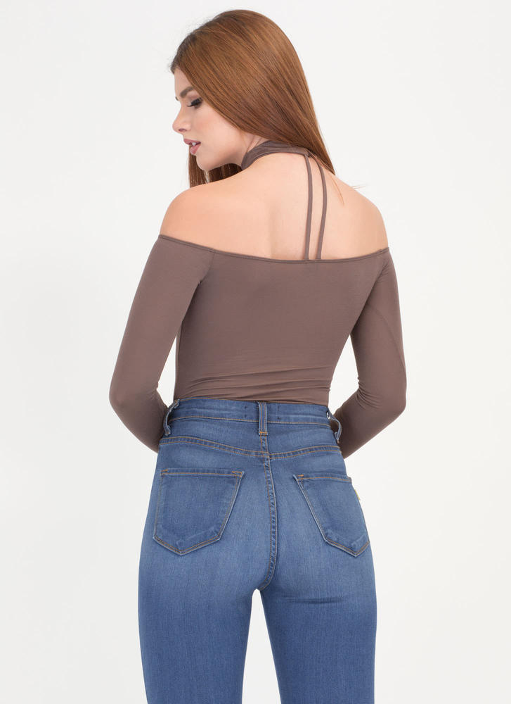 Connected Off-Shoulder Choker Bodysuit MOCHA