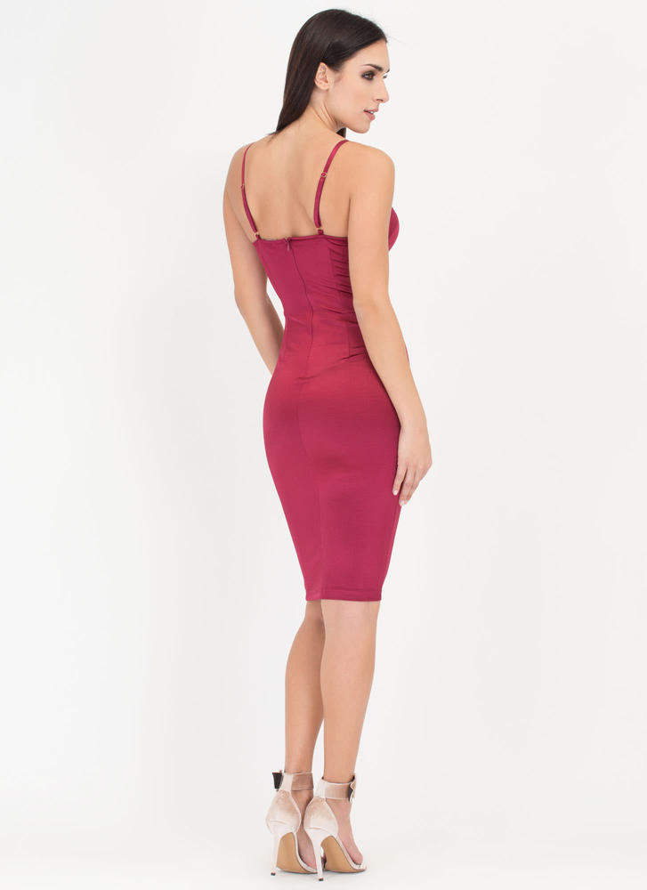 Hot Number Satin Bustier Dress WINE