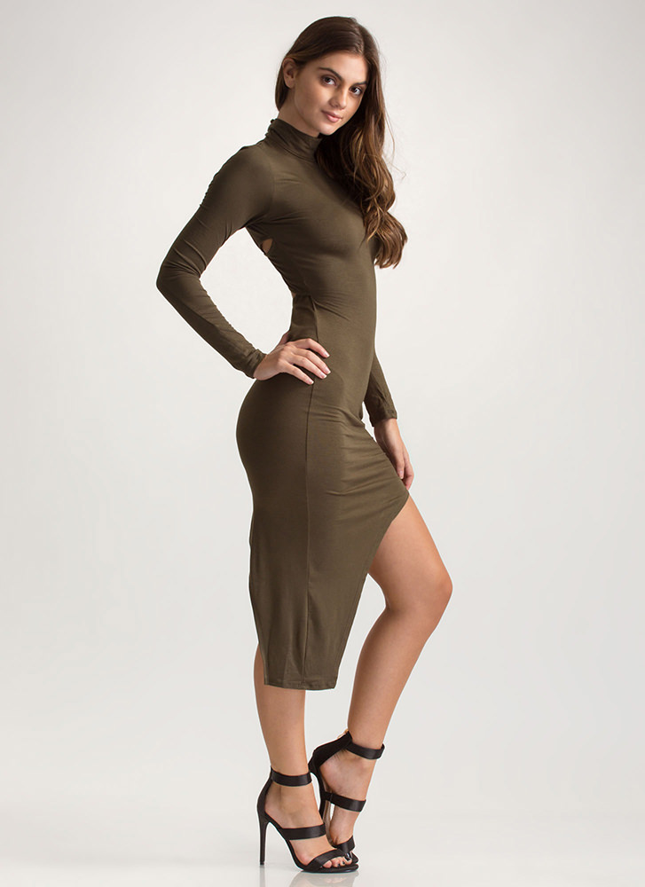 X Game Cut-Out High-Low Bodycon Dress OLIVE
