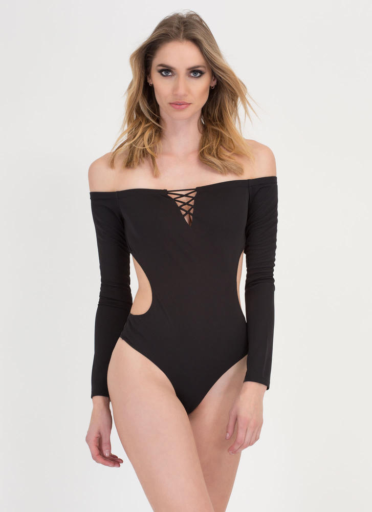 X Woman Off-Shoulder Thong Bodysuit BLACK