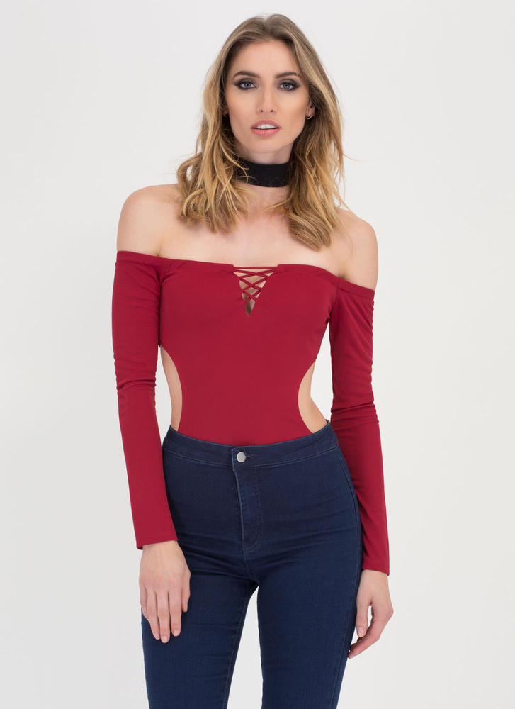 X Woman Off-Shoulder Thong Bodysuit DEEPRED
