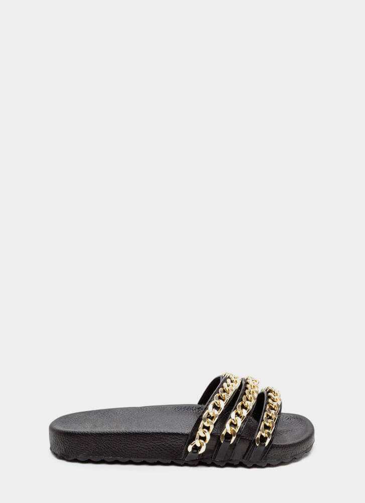 Chain Chain Chain Platform Slide Sandals BLACK