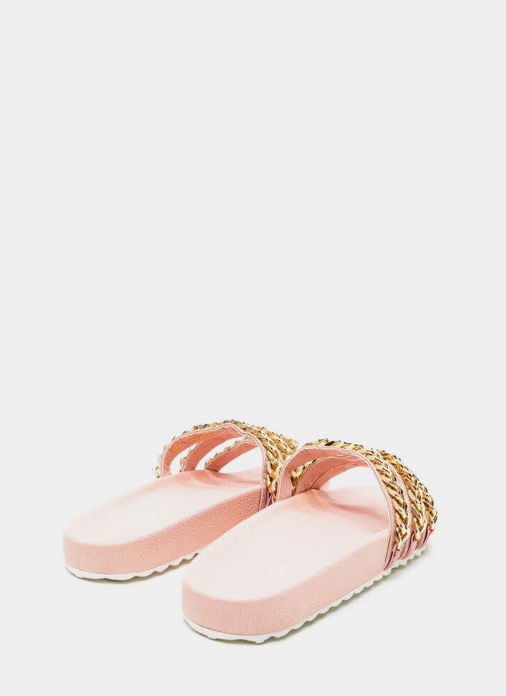 Chain Chain Chain Platform Slide Sandals DUSTYPINK