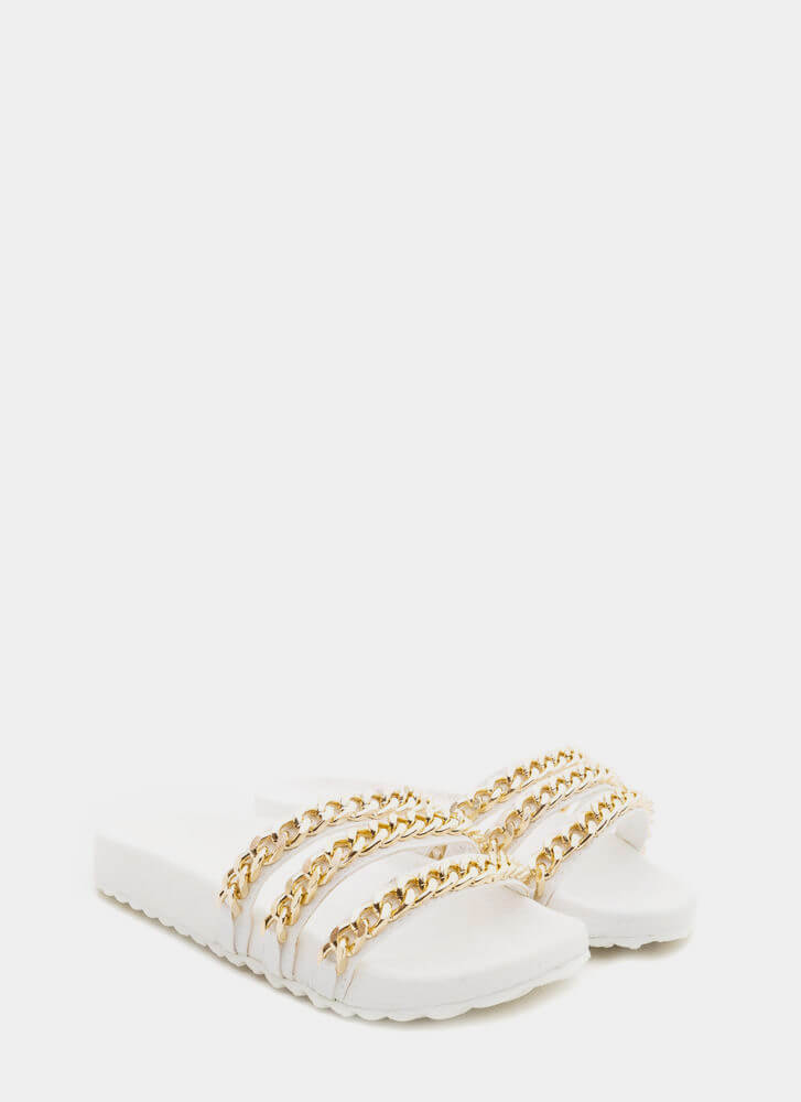 Chain Chain Chain Platform Slide Sandals WHITE