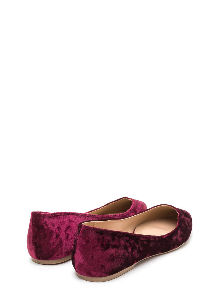 Crushing Blow Pointy Velvet Flats WINE (Final Sale)