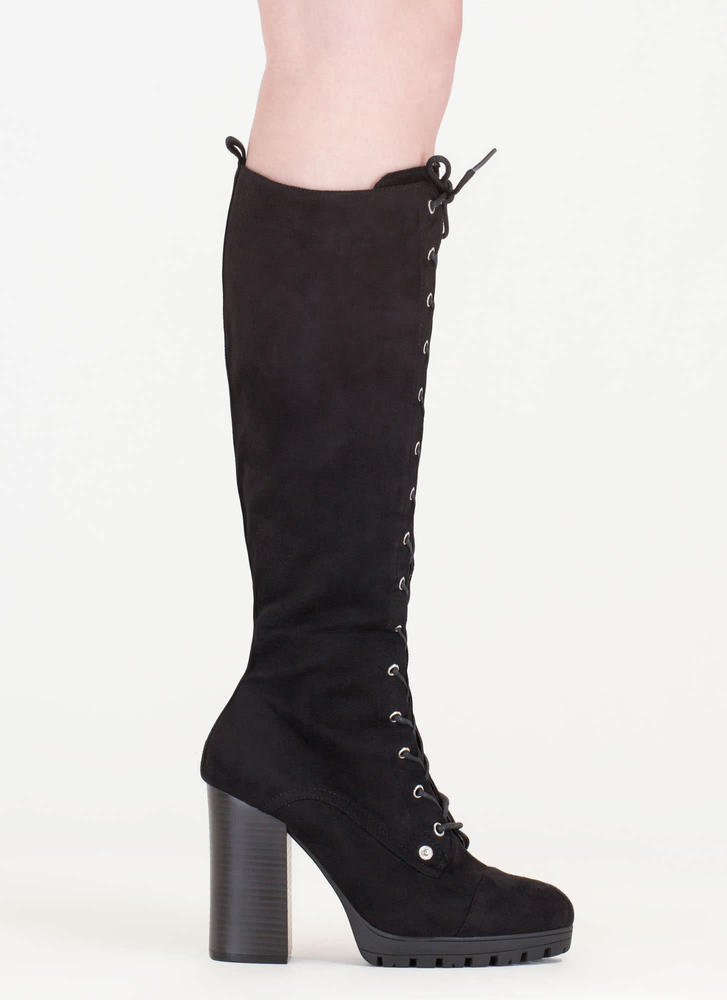 The Climb Chunky Lace-Up Lug Boots BLACK