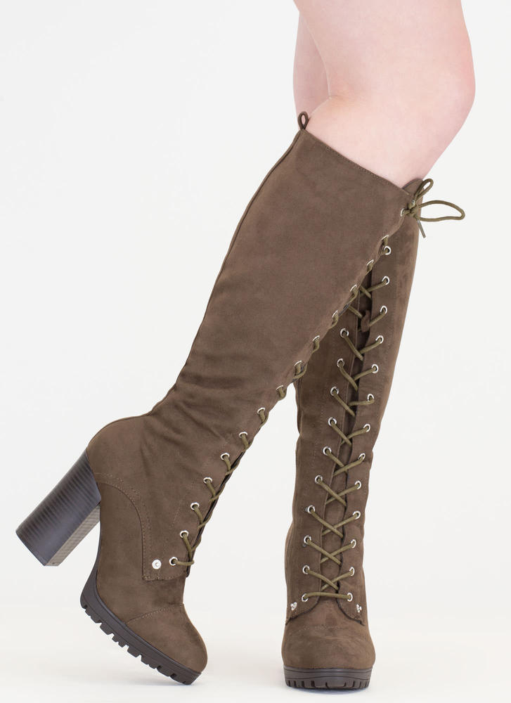 The Climb Chunky Lace-Up Lug Boots OLIVE