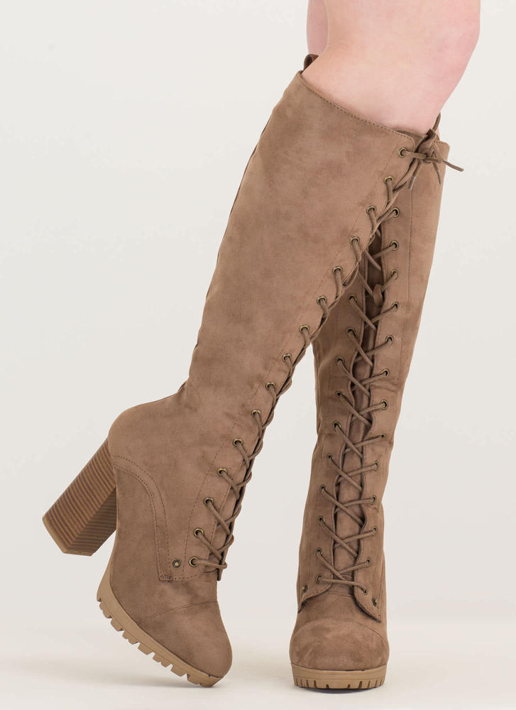 The Climb Chunky Lace-Up Lug Boots TAUPE