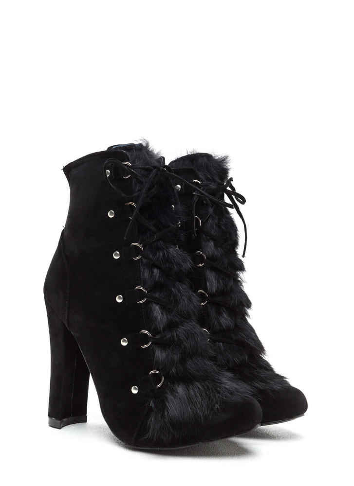 Fur Keeps Chunky Lace-Up Booties BLACK
