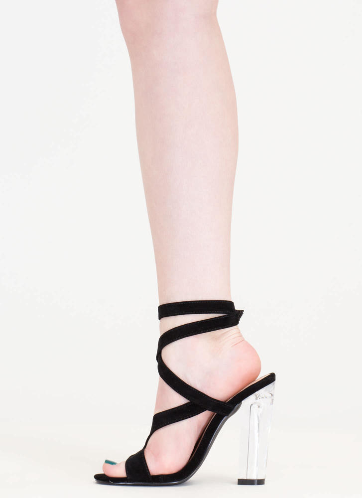 So Transparent Chunky Wraparound Heels BLACK (Final Sale)