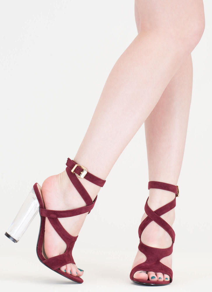 So Transparent Chunky Wraparound Heels BURGUNDY (Final Sale)