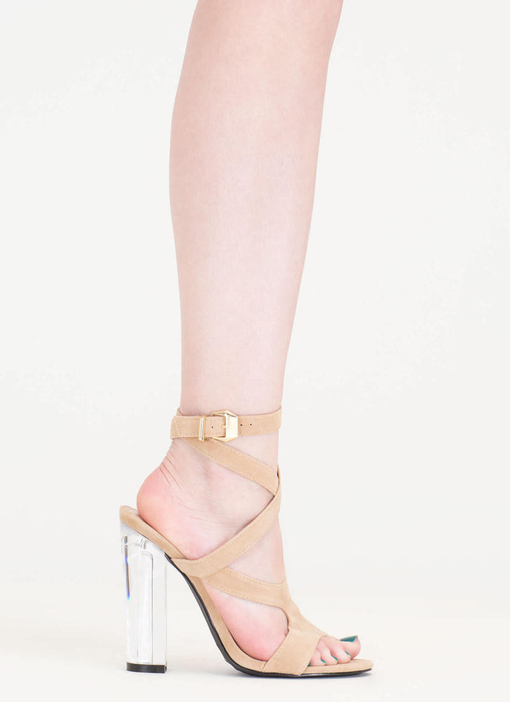 So Transparent Chunky Wraparound Heels NUDE (Final Sale)