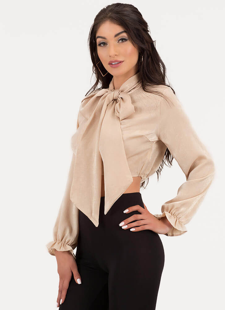 Sheen Stealer Satin Pussybow Top BEIGE