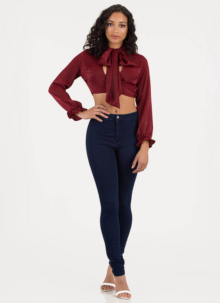 Sheen Stealer Satin Pussybow Top BURGUNDY