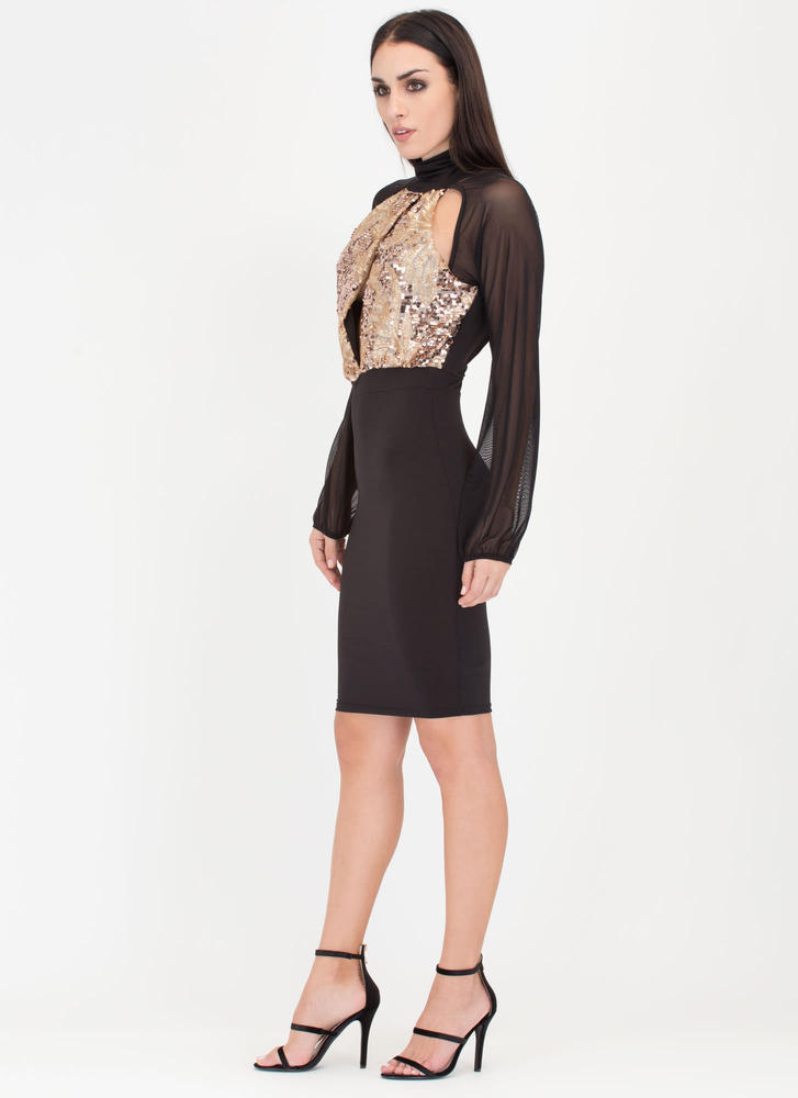Sheer You On Sequined Midi Dress BLACKGOLD (Final Sale)