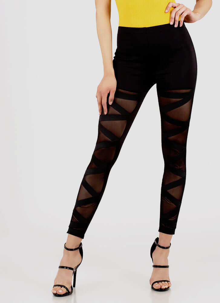 Not Over It Caged Mesh Inset Pants BLACK