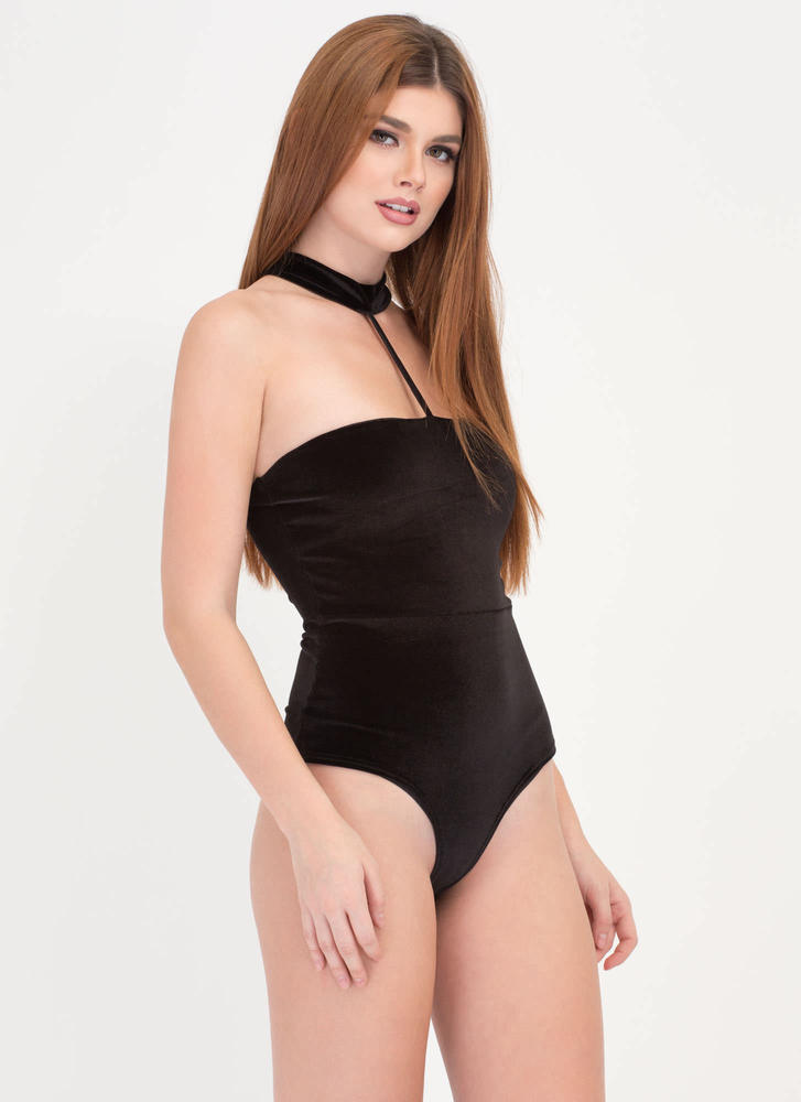 Vixen In Velvet Caged Choker Bodysuit BLACK