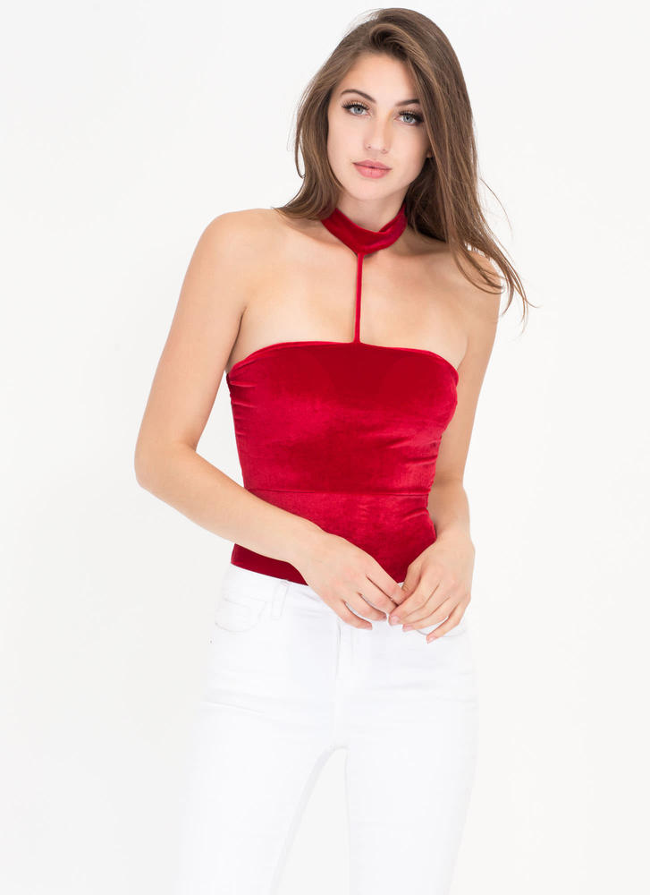 Vixen In Velvet Caged Choker Bodysuit RED