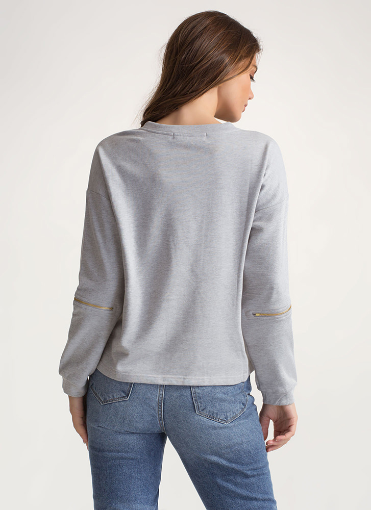 Zipping Elbows Oversized Sweatshirt GREY