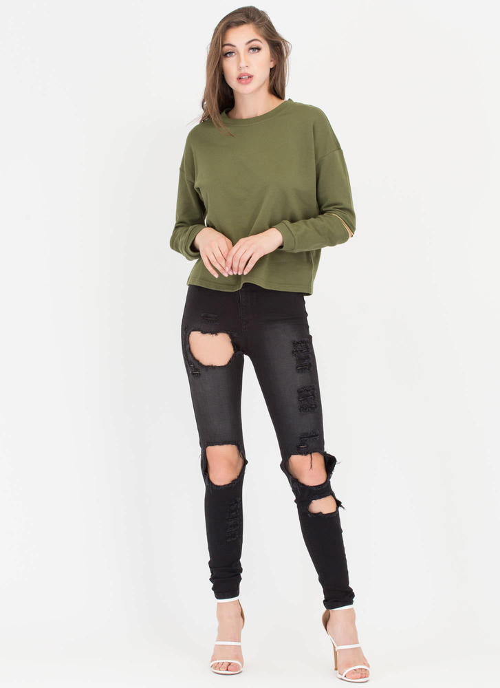 Zipping Elbows Oversized Sweatshirt OLIVE