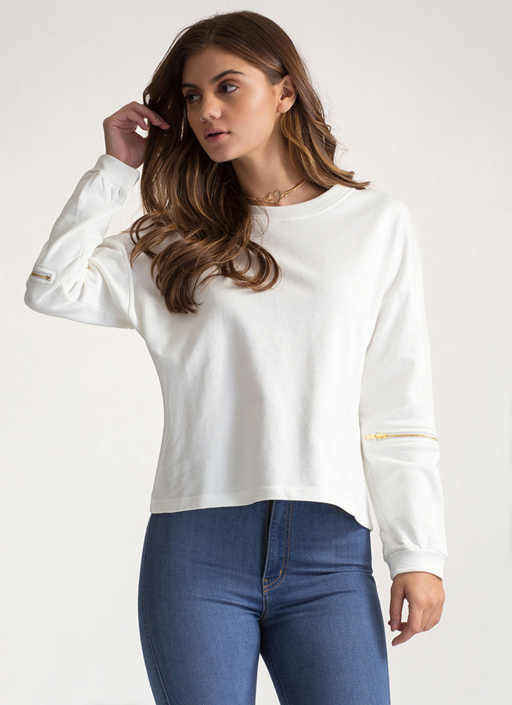 Zipping Elbows Oversized Sweatshirt WHITE