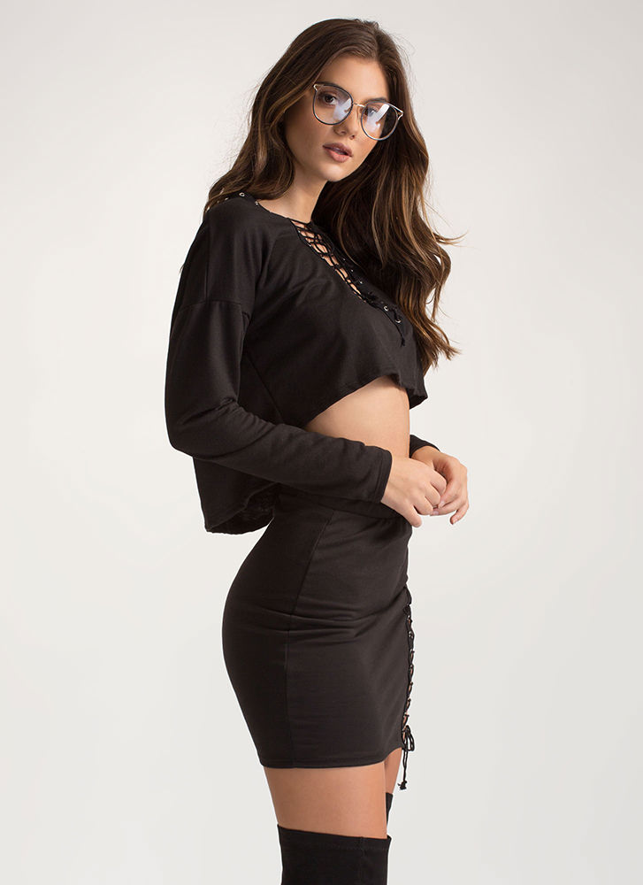 Laced It Good Knit Two-Piece Dress BLACK