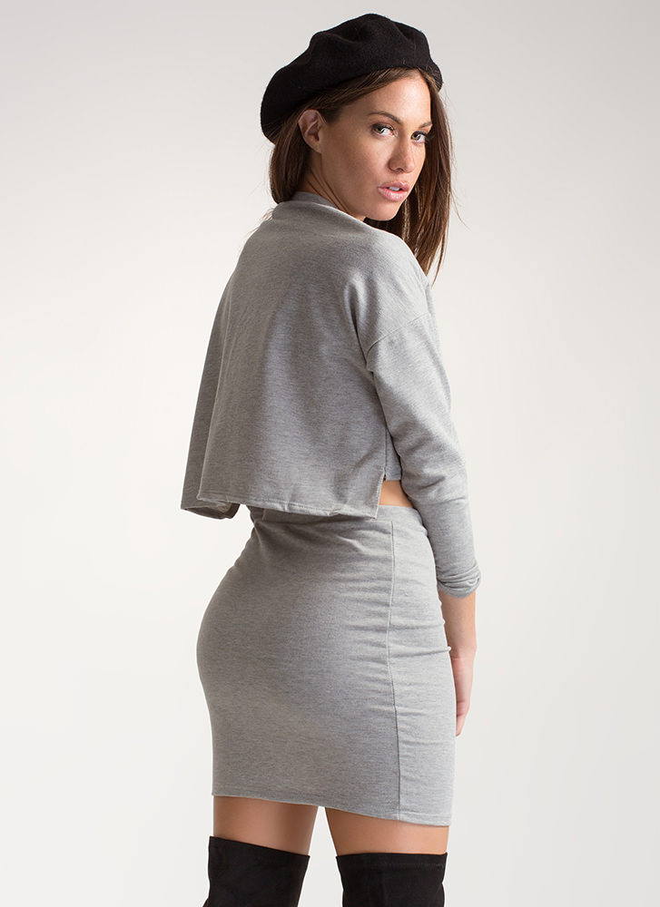 Laced It Good Knit Two-Piece Dress GREY