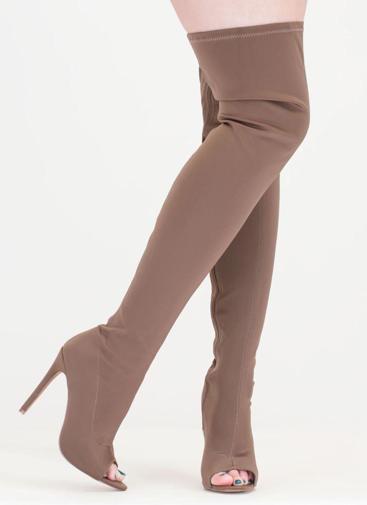 Smooth Over Peep-Toe Thigh-High Boots TAUPE