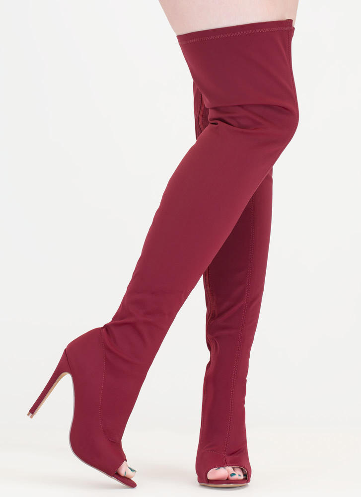 Smooth Over Peep-Toe Thigh-High Boots WINE