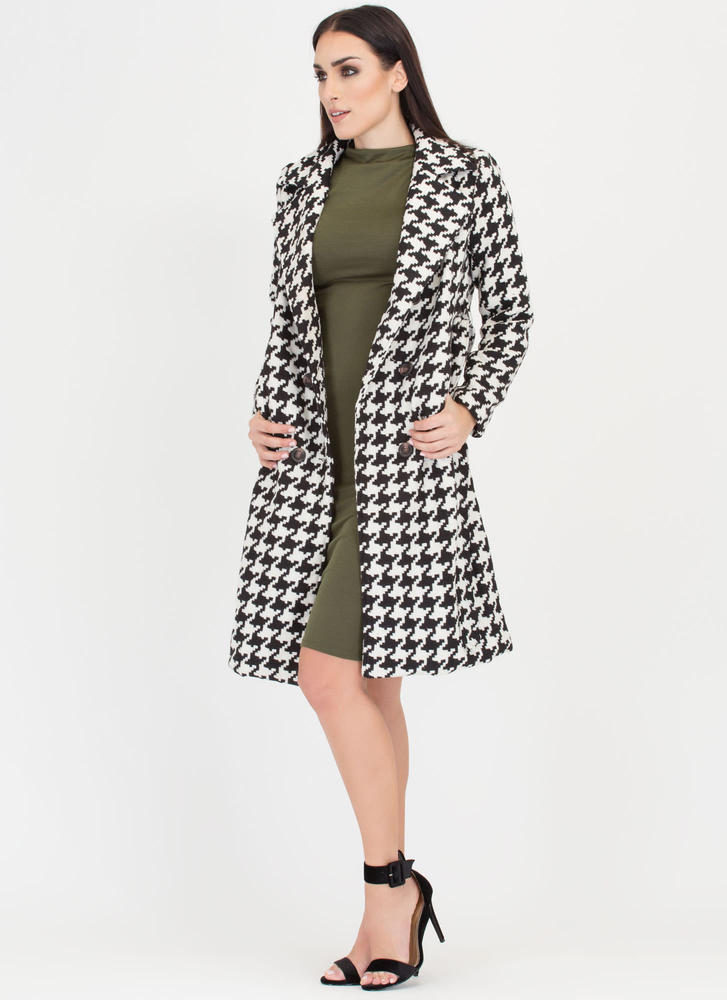 Chill Remedy Belted Houndstooth Coat BLACK (Final Sale)