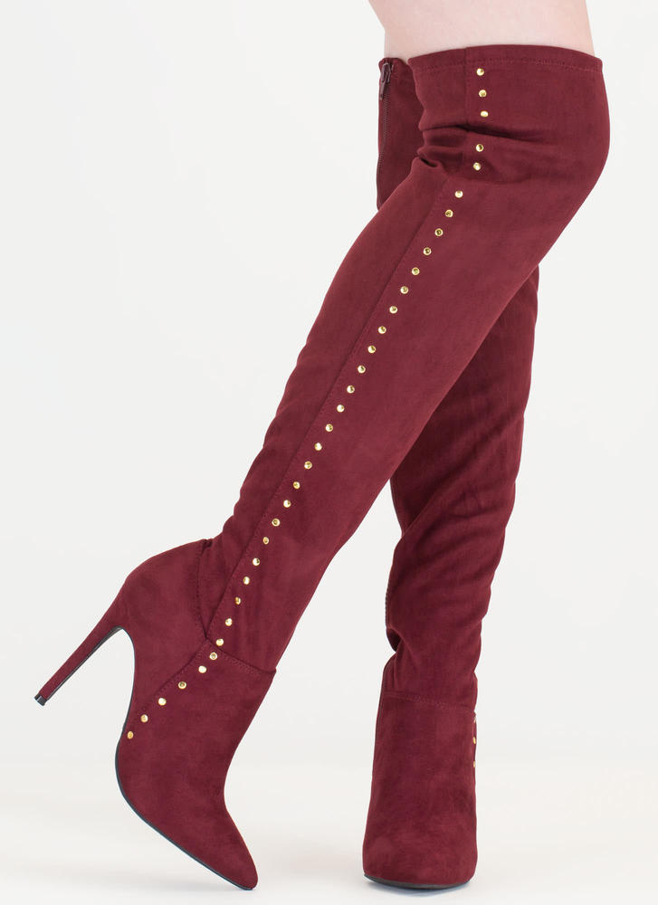 Stud Muffin Pointy Over-The-Knee Boots BURGUNDY