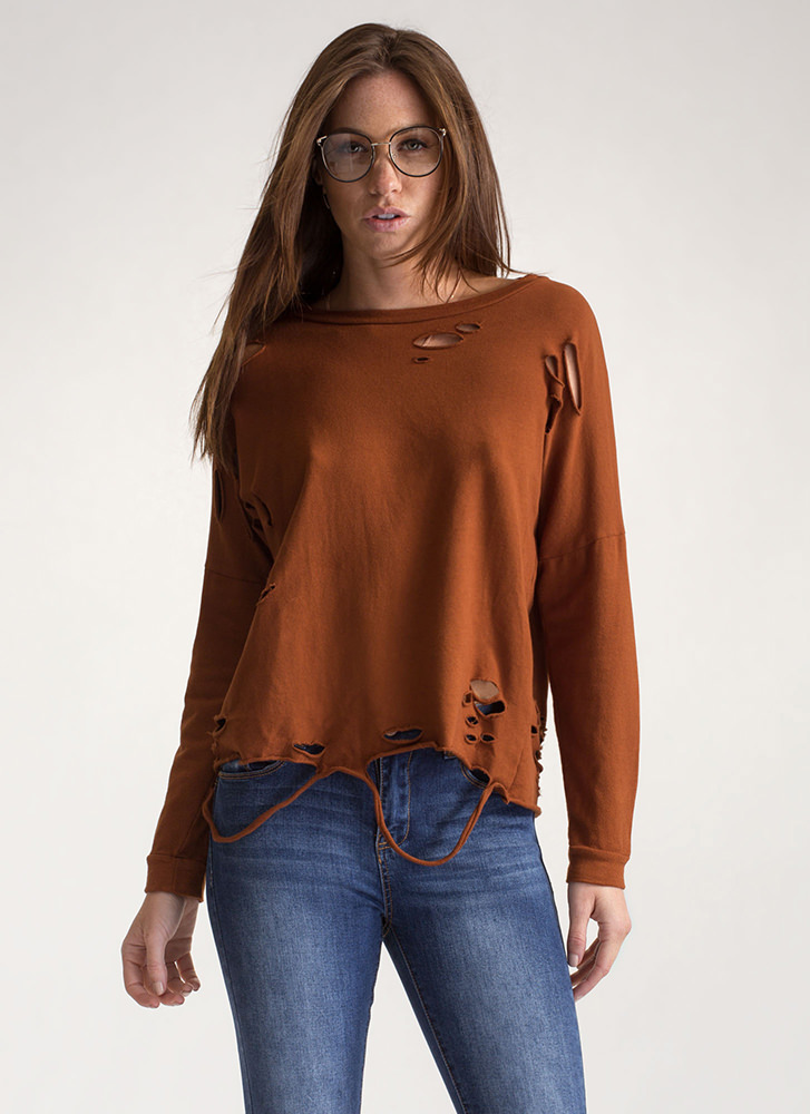 All Time Fave Distressed Sweatshirt BROWN