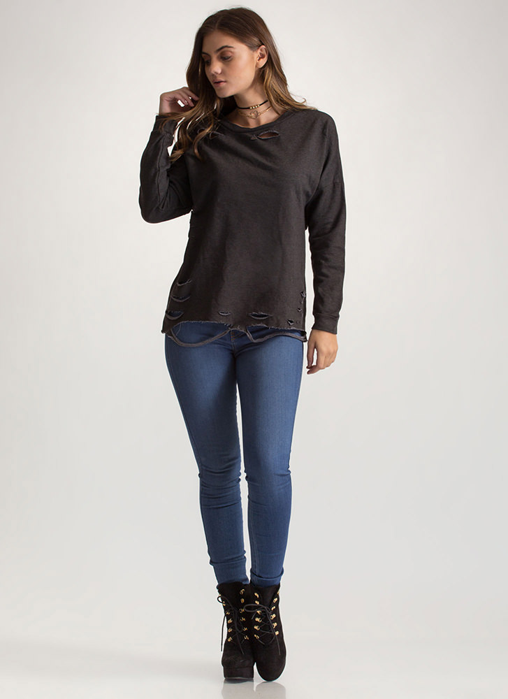 All Time Fave Distressed Sweatshirt CHARCOAL
